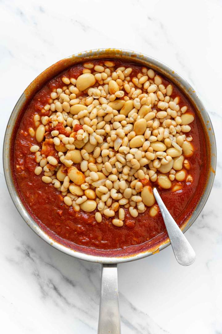 adding white beans to Baked Beans from Scratch