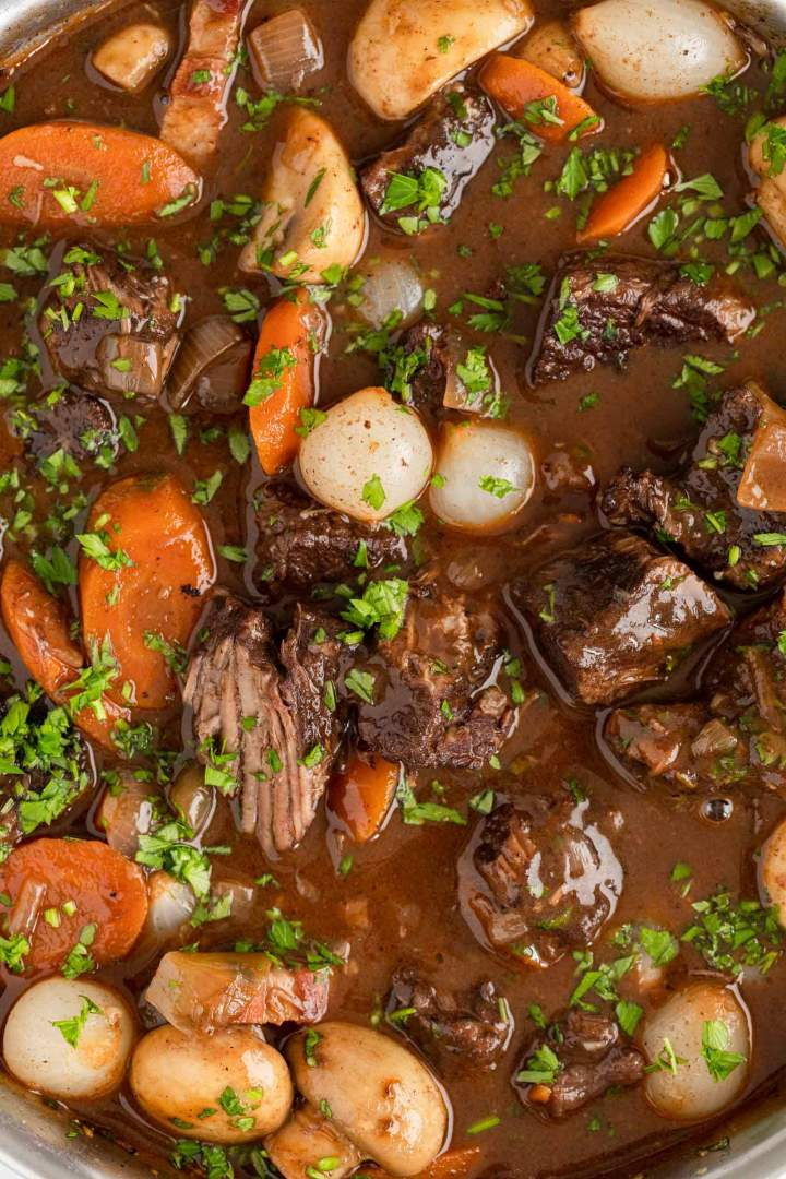 Beef Bourguignon close up