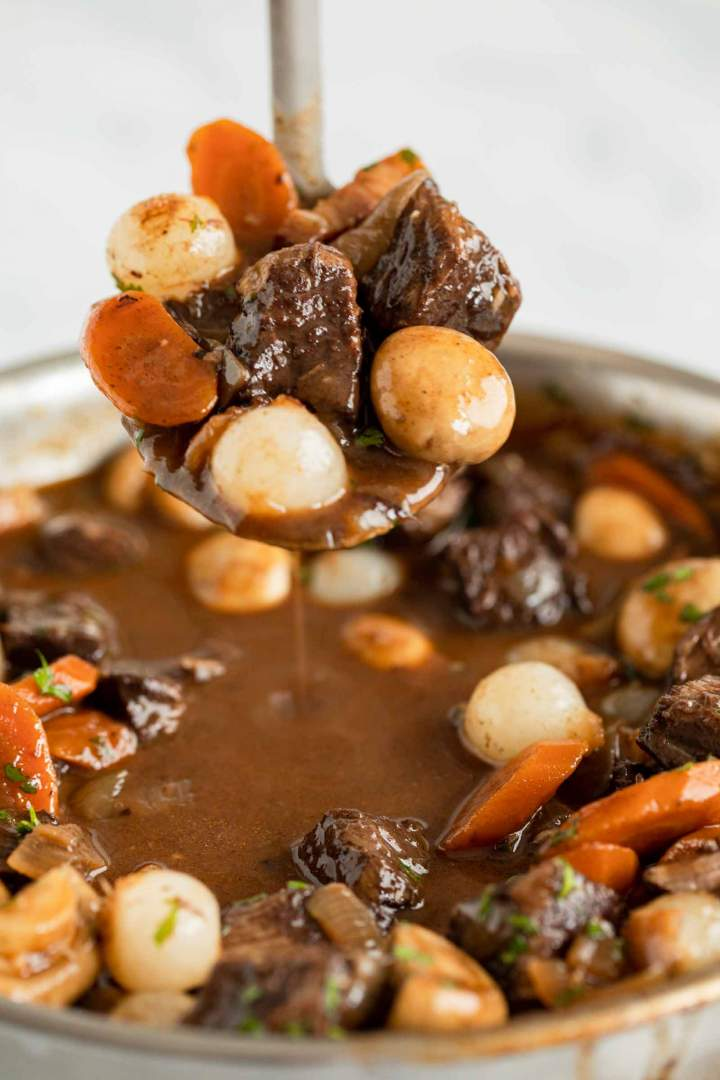 Beef Bourguignon tender and delicious