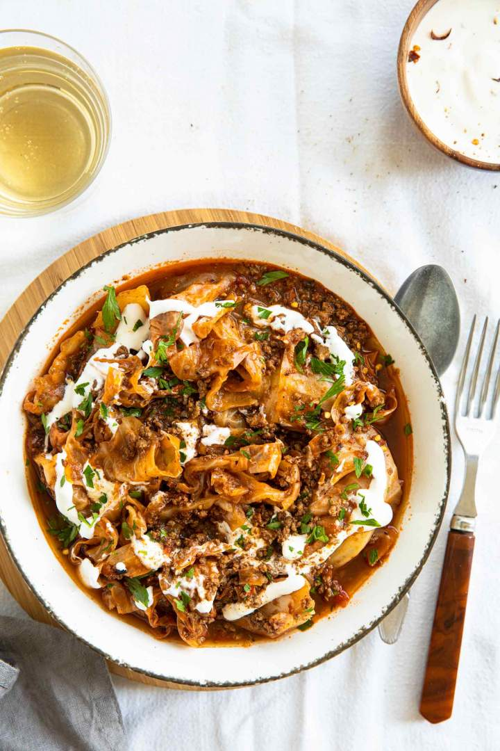 Ground Beef Cabbage Stew served with sour cream