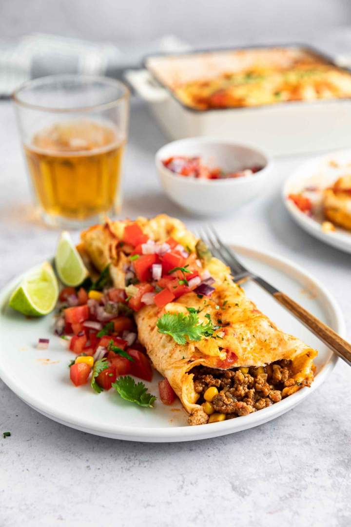 Served Ground Beef Enchiladas