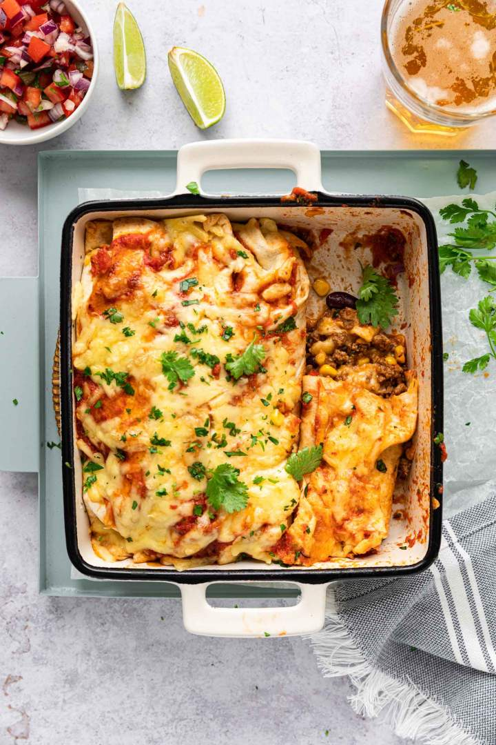Ground Beef Enchiladas easy and juicy