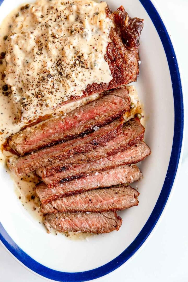 Reverse Sear Ribeye Steak with Peppercorn Sauce