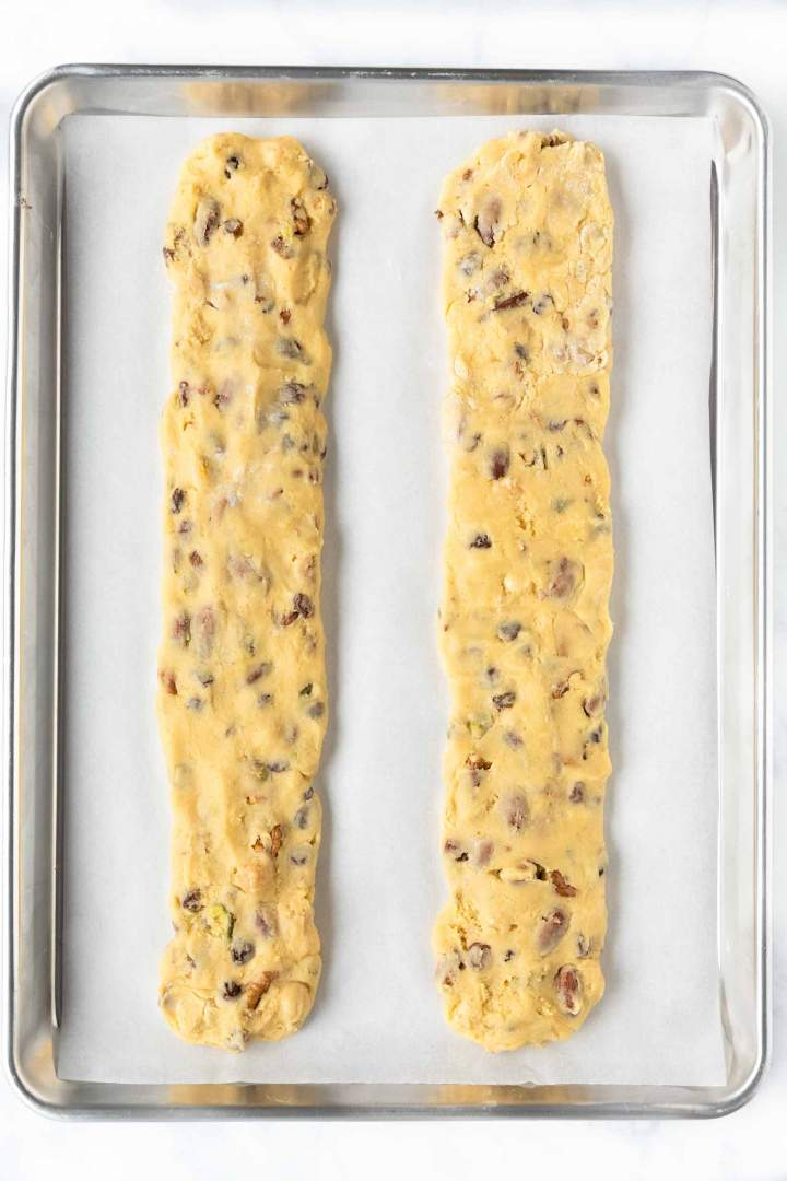 Biscotti with Raisins and Nuts logs before baking