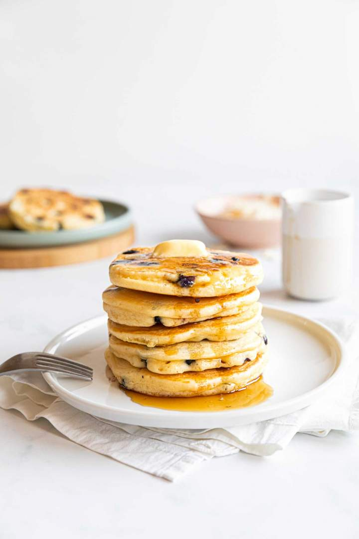 Fluffy Blueberry Pancakes with Kefir