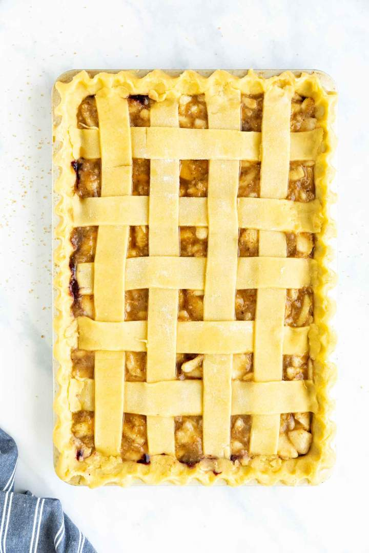 Blueberry Pear Slab Pie with Lattice - before baking