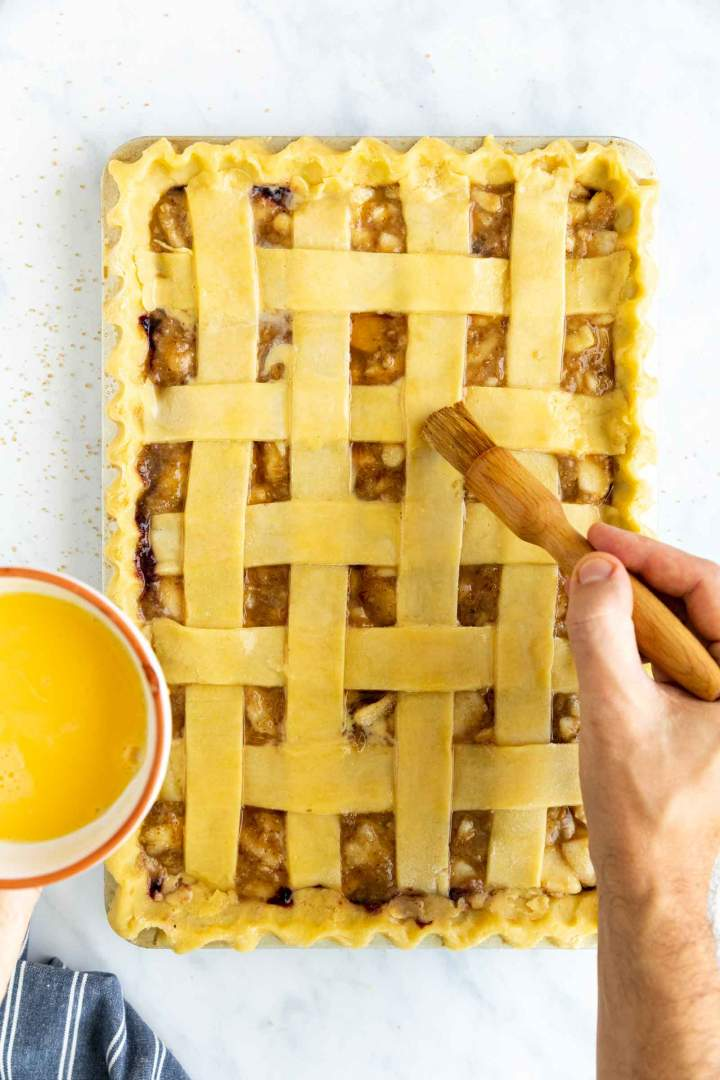 Blueberry Pear Slab Pie - egg wash before baking