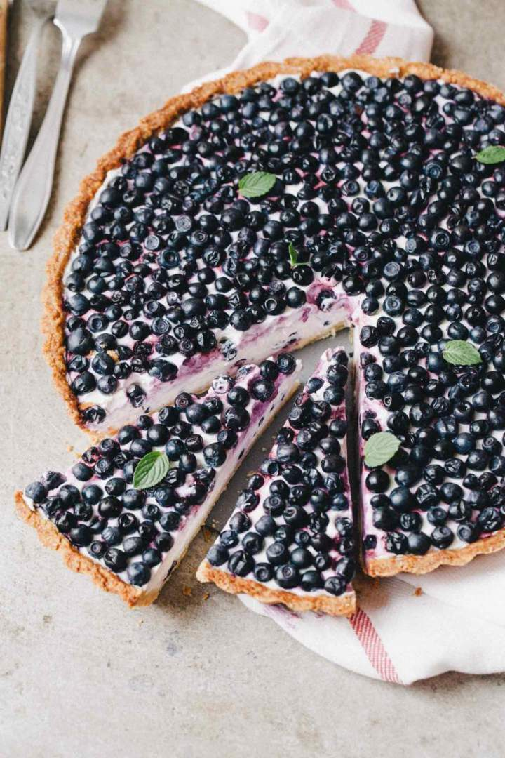 Homemade Blueberry Tart with Light Yogurt Cream