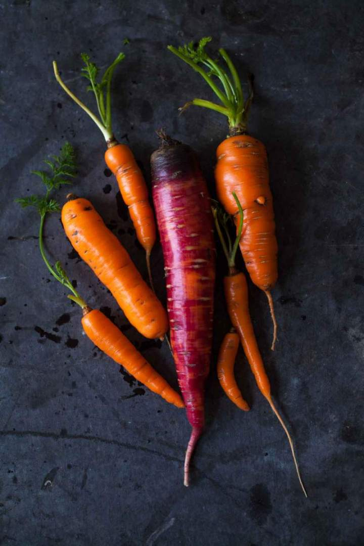 Homegrown colorful carrots