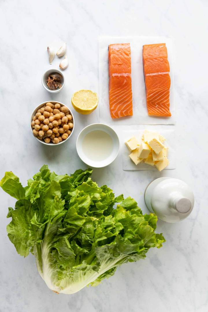 Ingredients for Pan-fried Salmon with Braised Escarole and Chickpeas