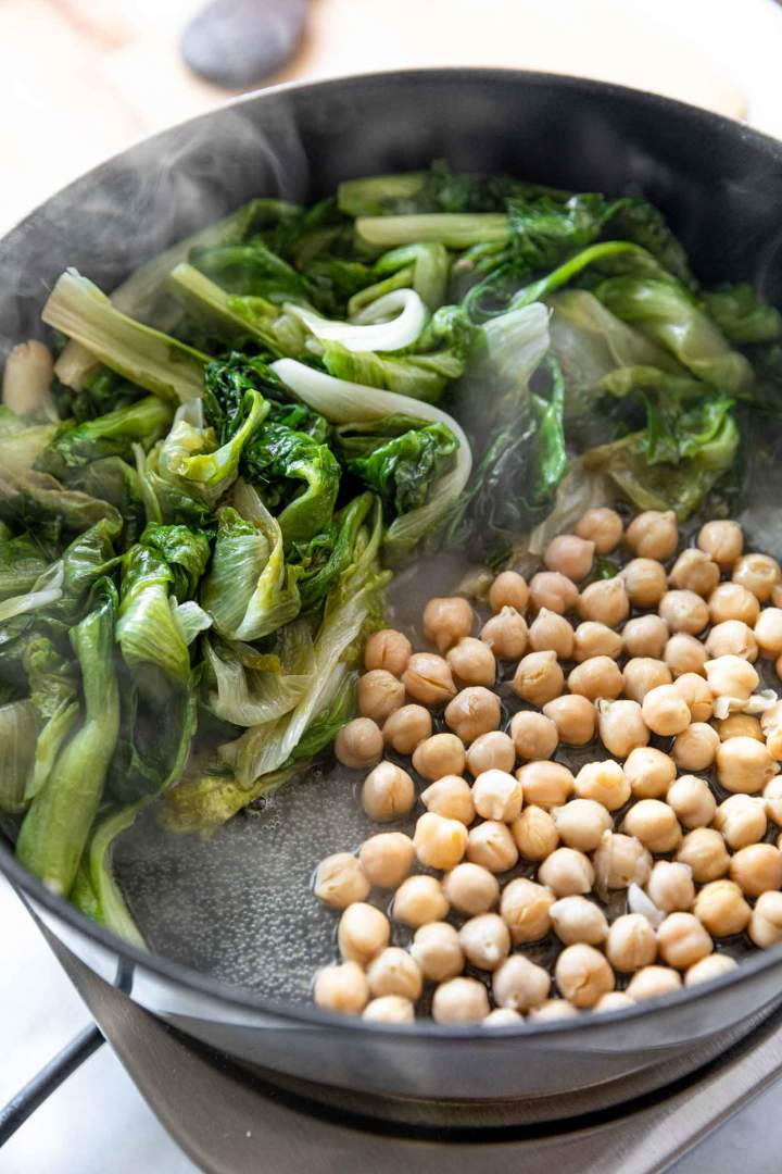 Braised Escarole and Chickpeas