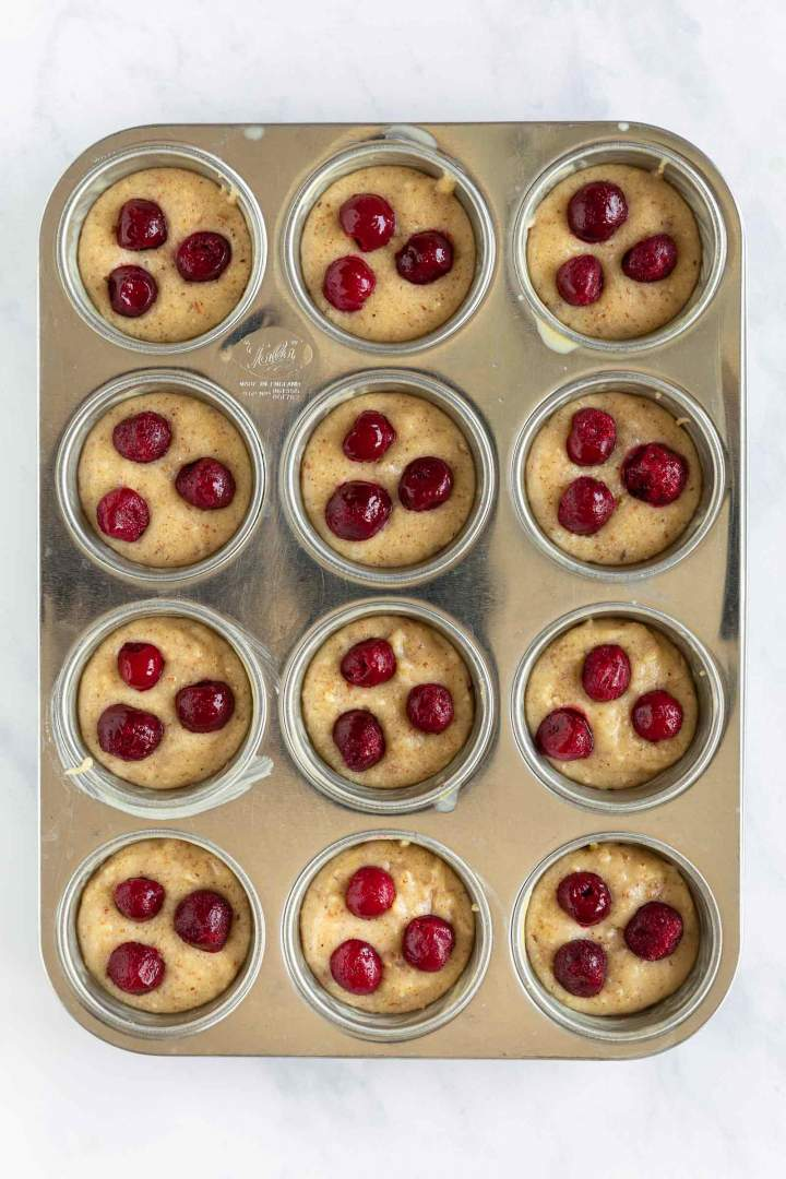 Brown Butter Cherry Muffins - before baking