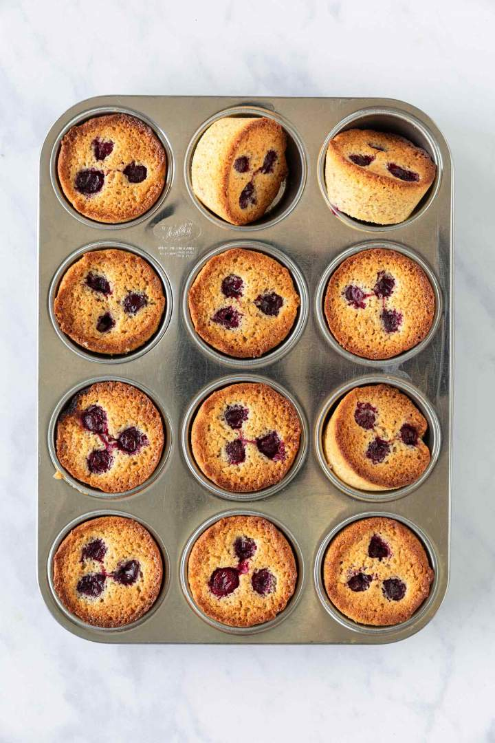 Brown Butter Cherry Muffins - baked