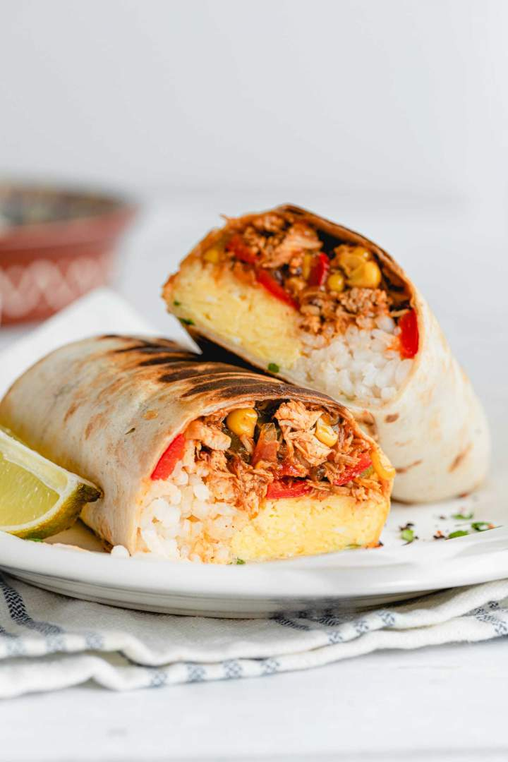 Shredded Chicken Burrito with vegetables, rice, and eggs
