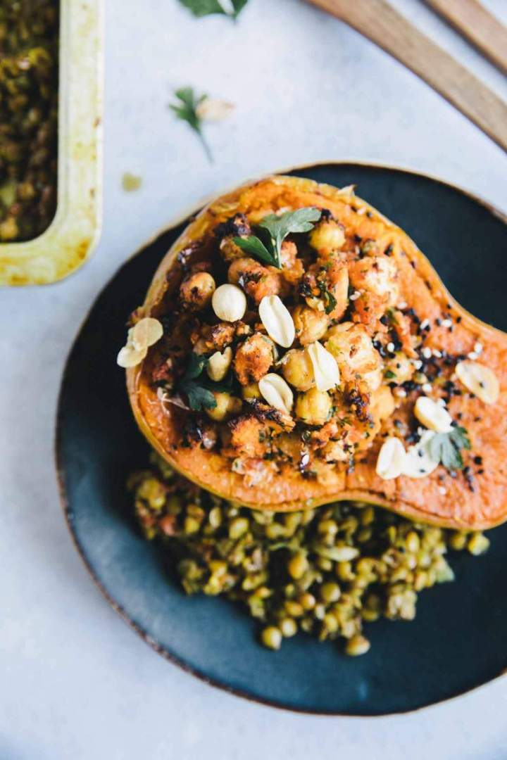 Stuffed Butternut Squash with Lentil Daal from jernejkitchen.com