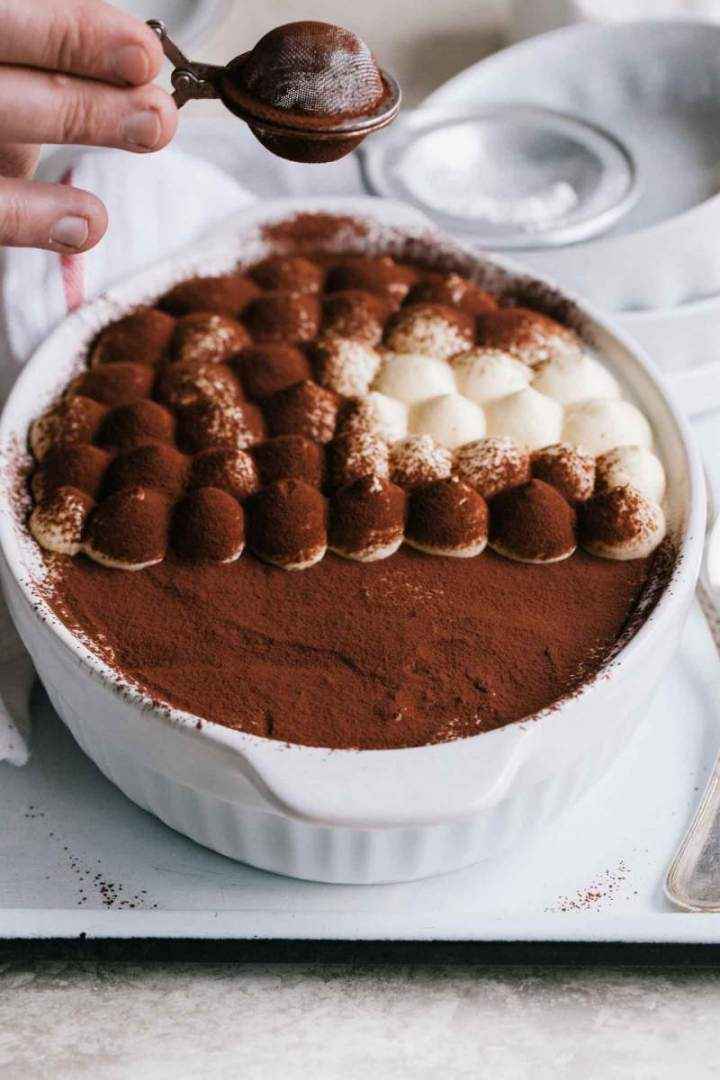 Classic Tiramisu, dusted with cacao powder