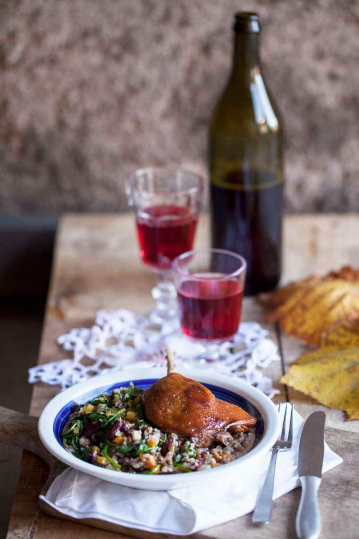 Confit duck leg with legumes stew