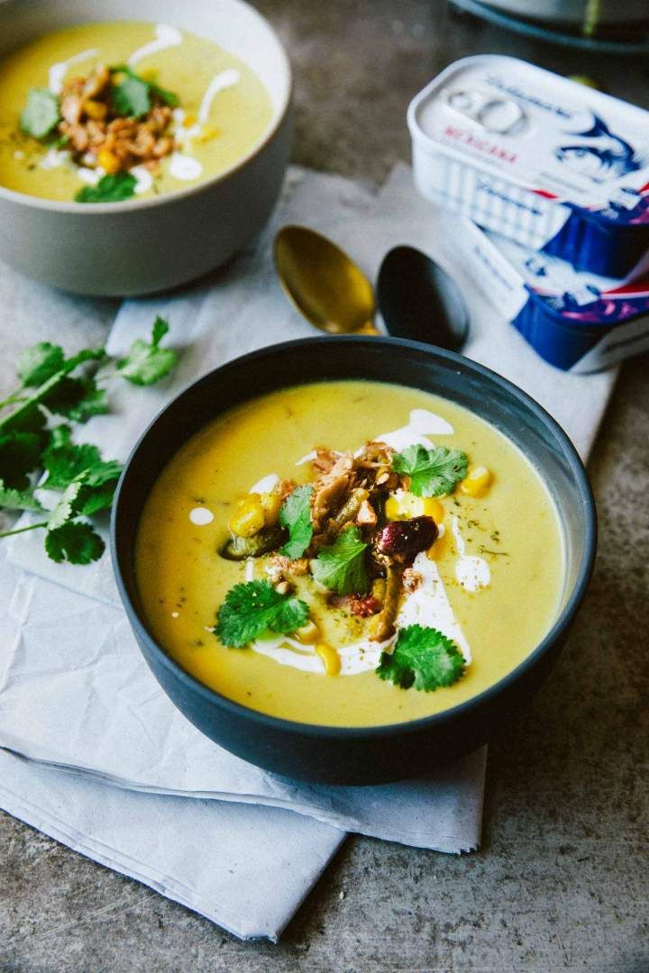 Corn Chowder with Tuna Mexicana in a bowl