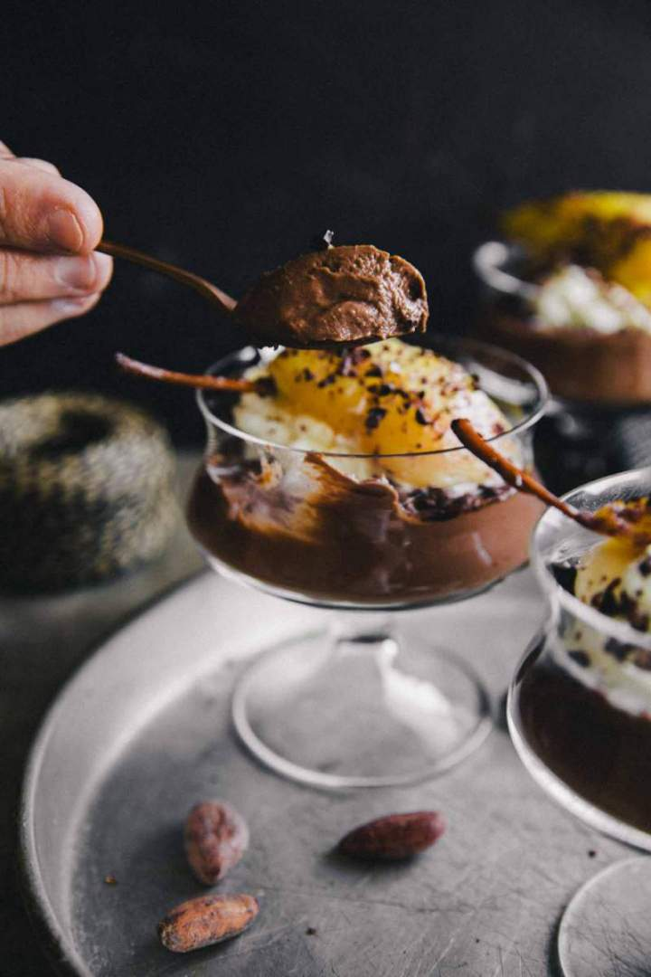 Dark Chocolate Pudding with Pears, cream and cacao nibs