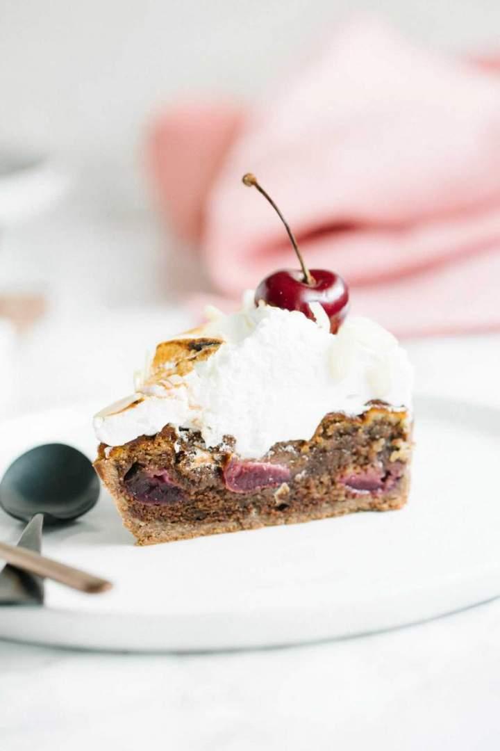 Slice of Double Chocolate Cherry and Buckwheat Tart