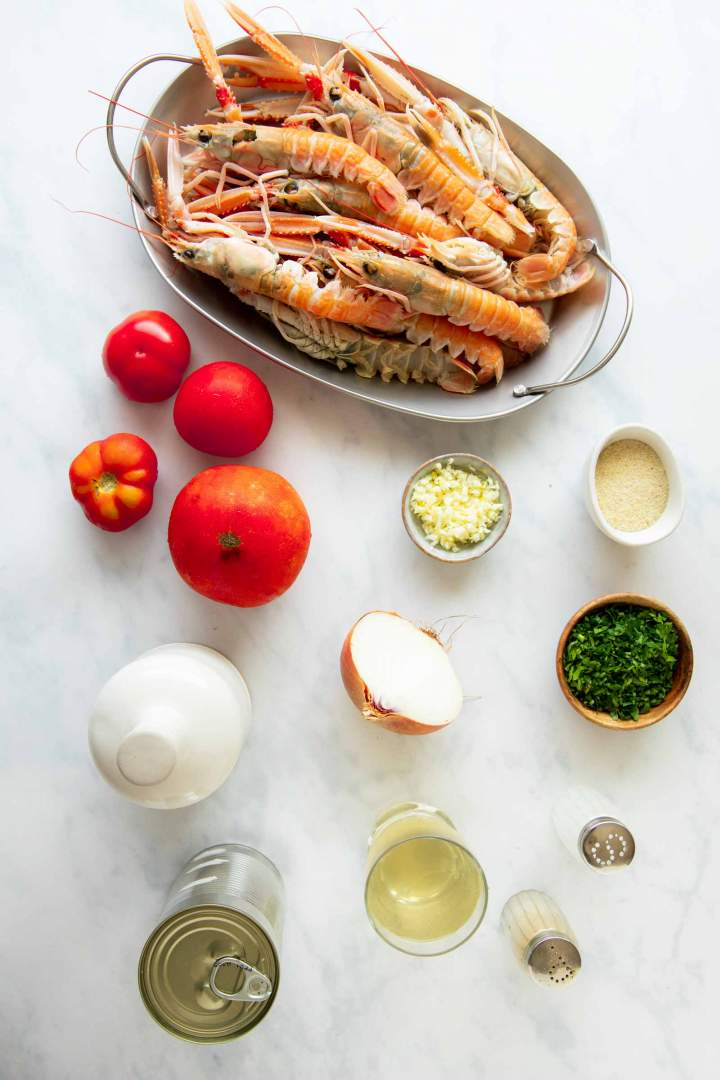 Ingredients for a delicious easy shrimp scampi recipe