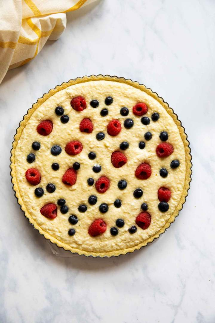 French Coconut Pie with Lime and Berries