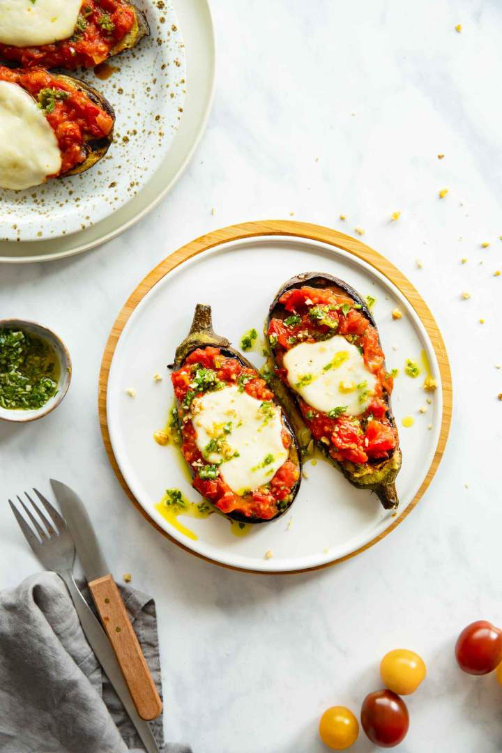 Grilled Eggplant Steaks with Mozzarella Cheese and Tomato Sauce
