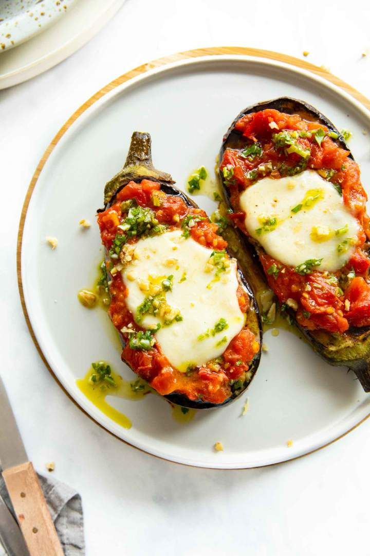 Grilled Mozzarella Eggplant Steaks