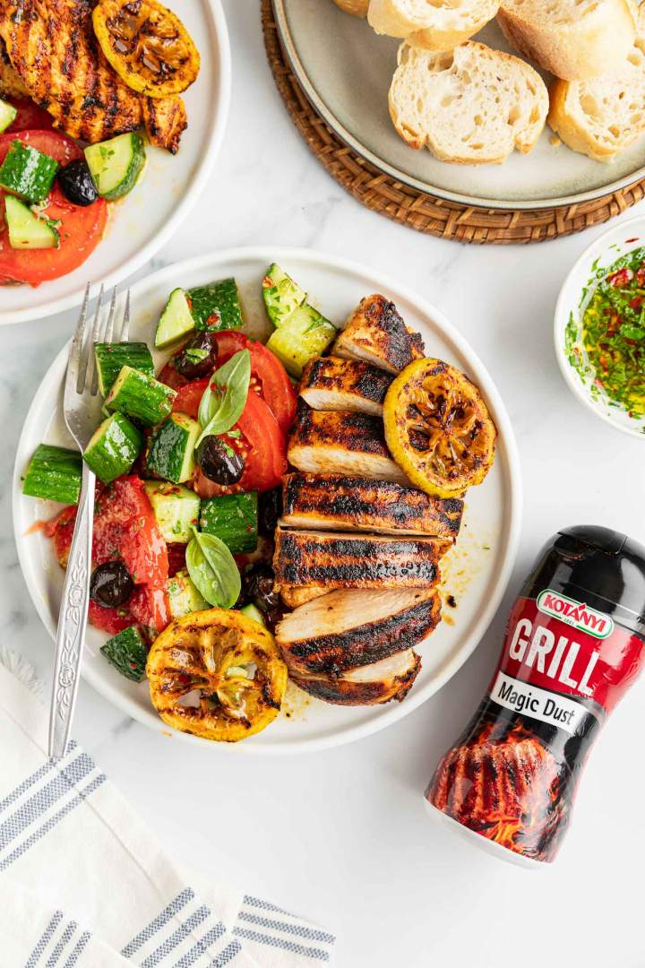Grilled Lemon Chicken Breast with seasonal salad