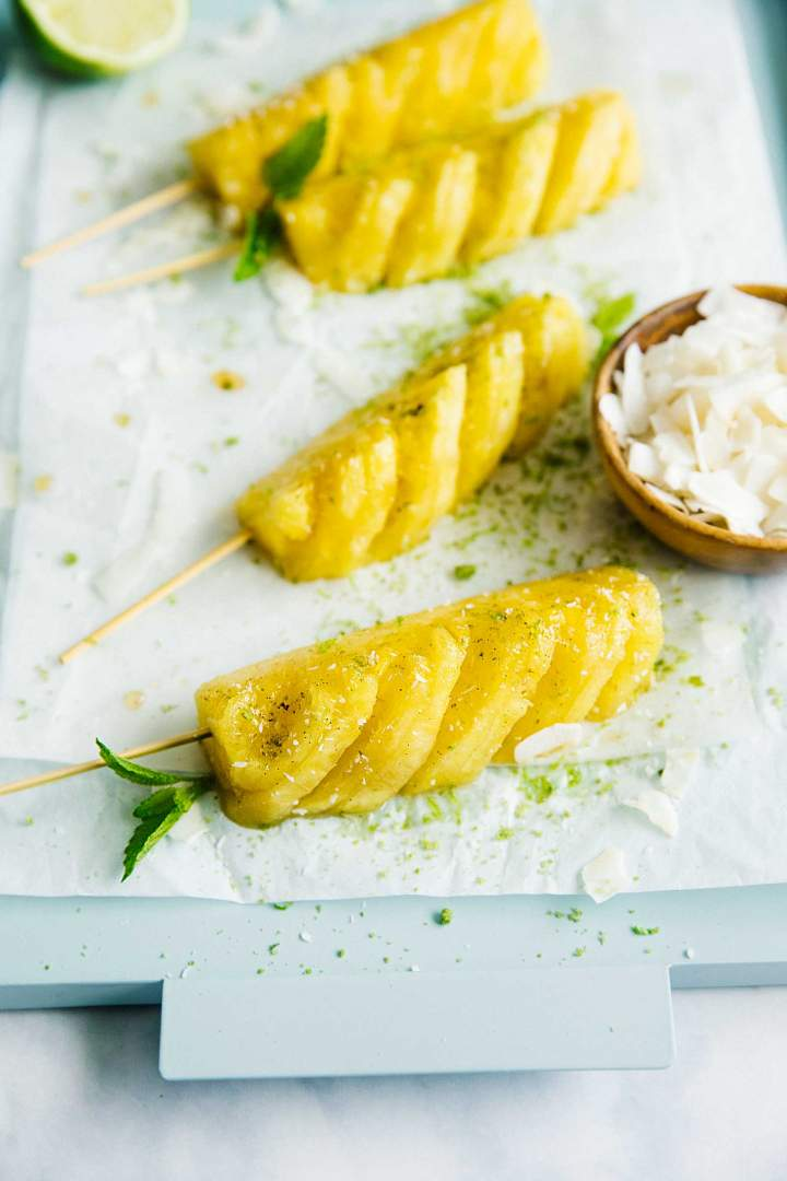 Grilled Pineapple Slices with Mint Brown Sugar and Coconut