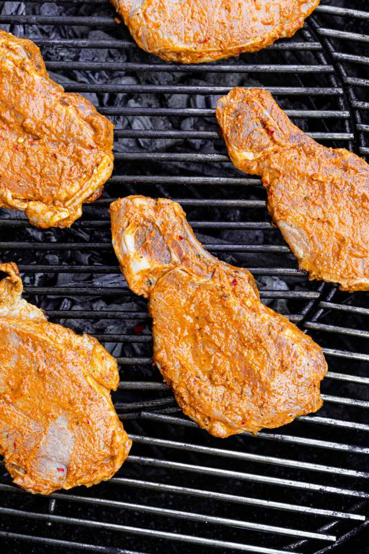 Marinated Grilled Pork Chops on the outdoor grill