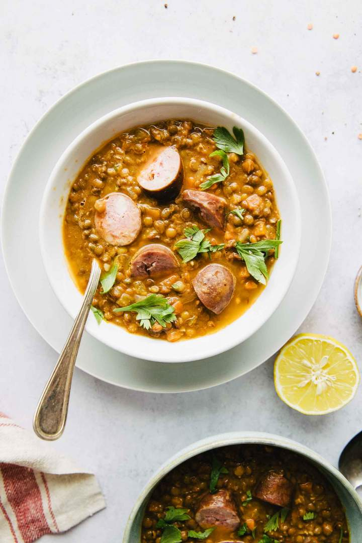 Lentil stew with cooked sausage