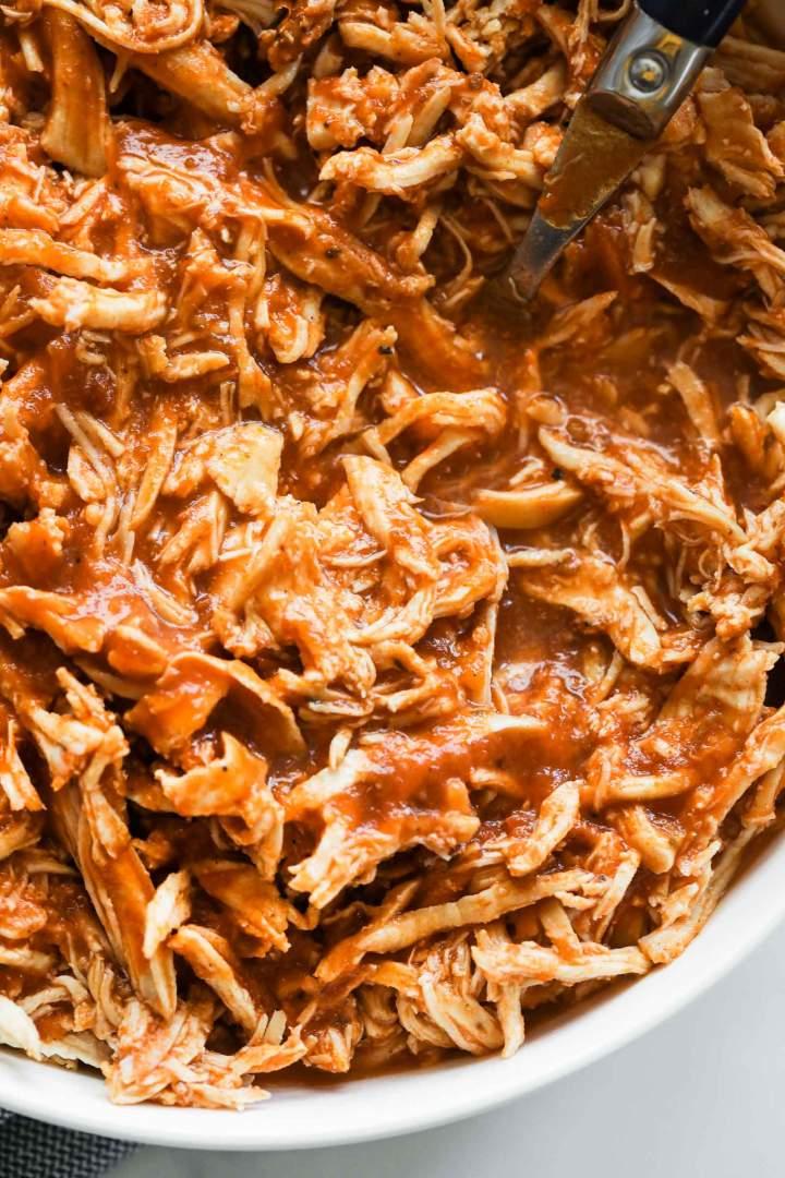 Instant Pot Shredded Chicken close up
