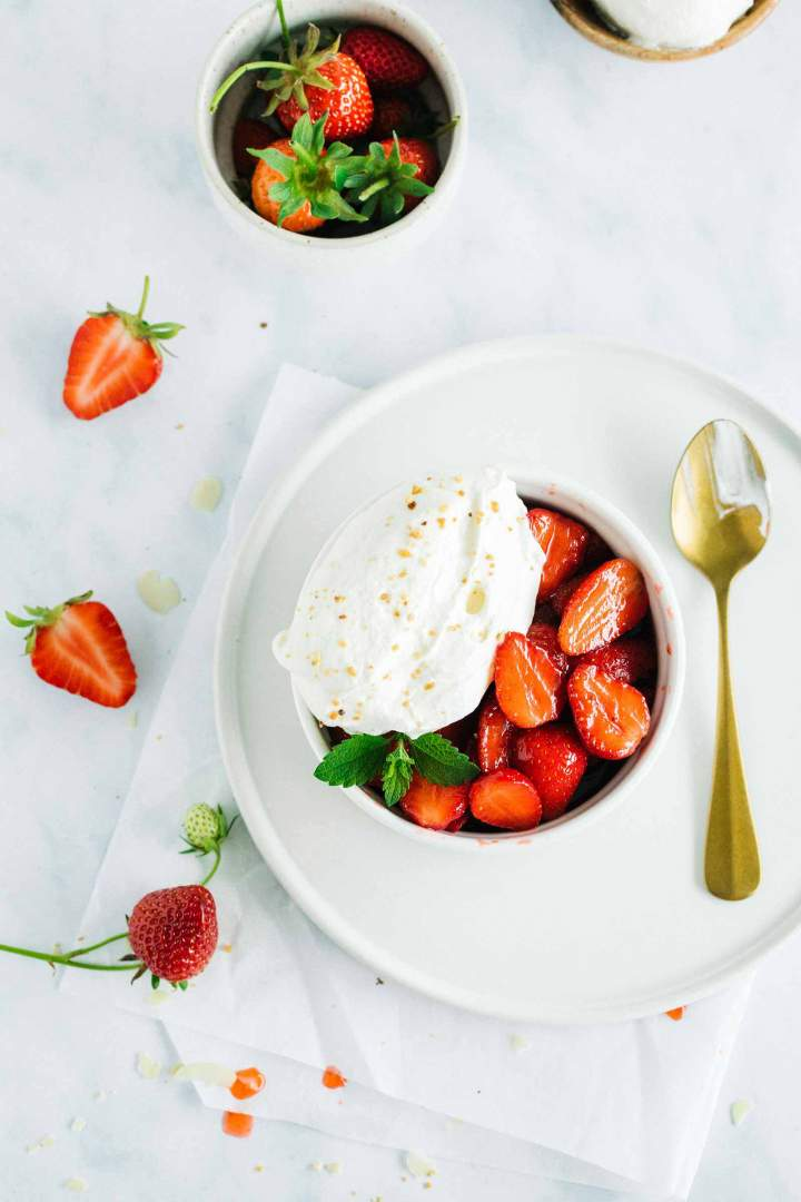 Macerated Strawberries with whipped cream
