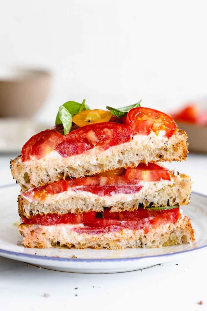 healthy Whipped Ricotta Tomato Toast