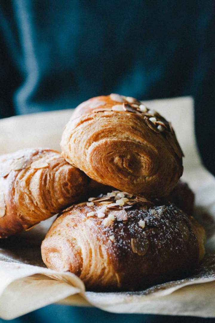 Freshly baked Pain au chocolat served on a plate