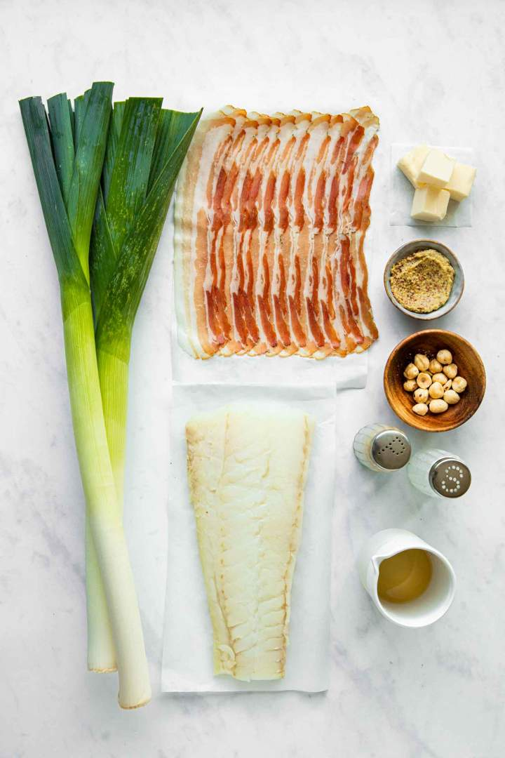Ingredients for Pan-Seared Cod in Butter Leak Sauce