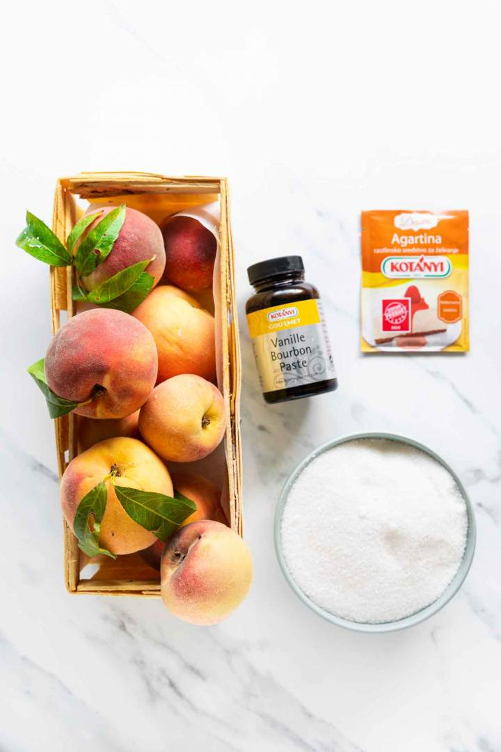 Ingredients for homemade Peach Jam