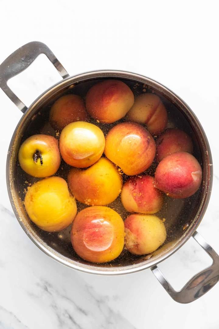 Cooking peaches for Peach Jam