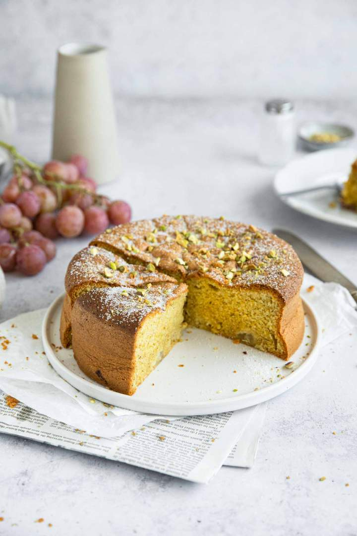Pistachio Polenta Cake with Olive Oil and Rosemary and Grapes