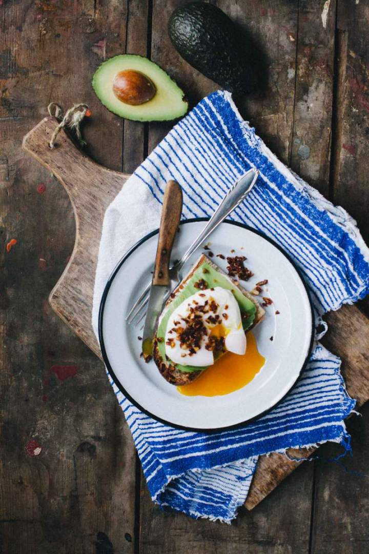 Poached eggs with avocado and tomatoes served on a plate
