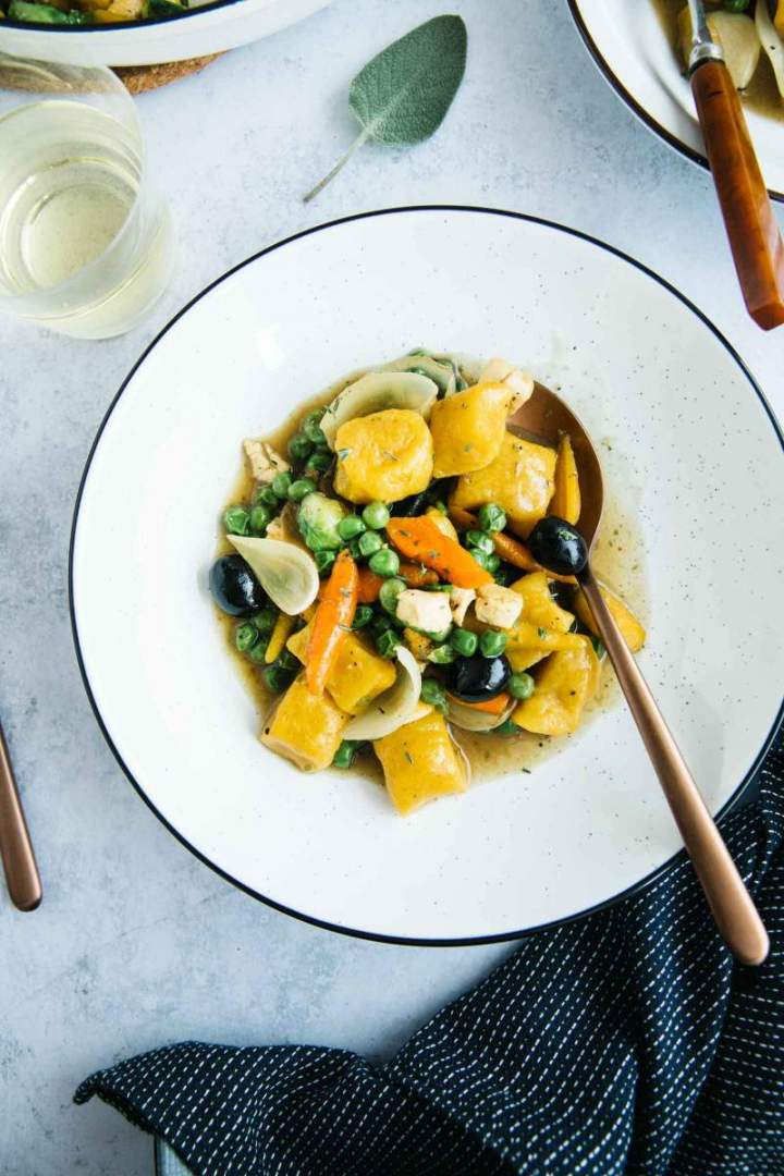 Pumpkin Gnocchi with Chicken, Peas and Carrots