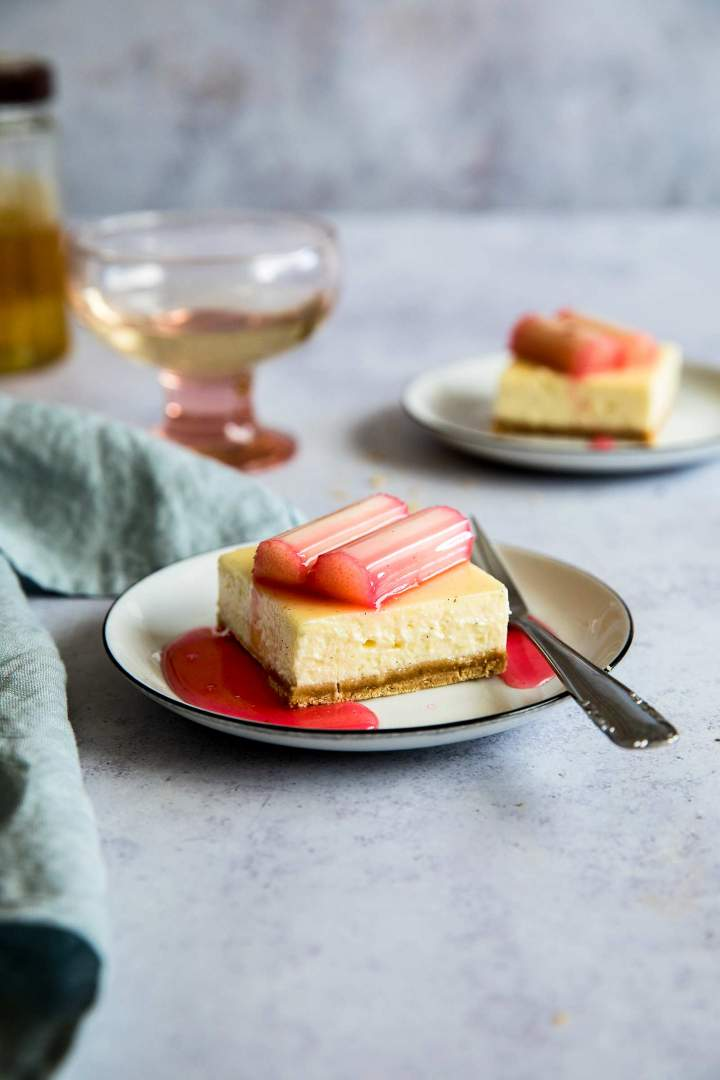 Vanilla Cheesecake Bars with Rhubarb