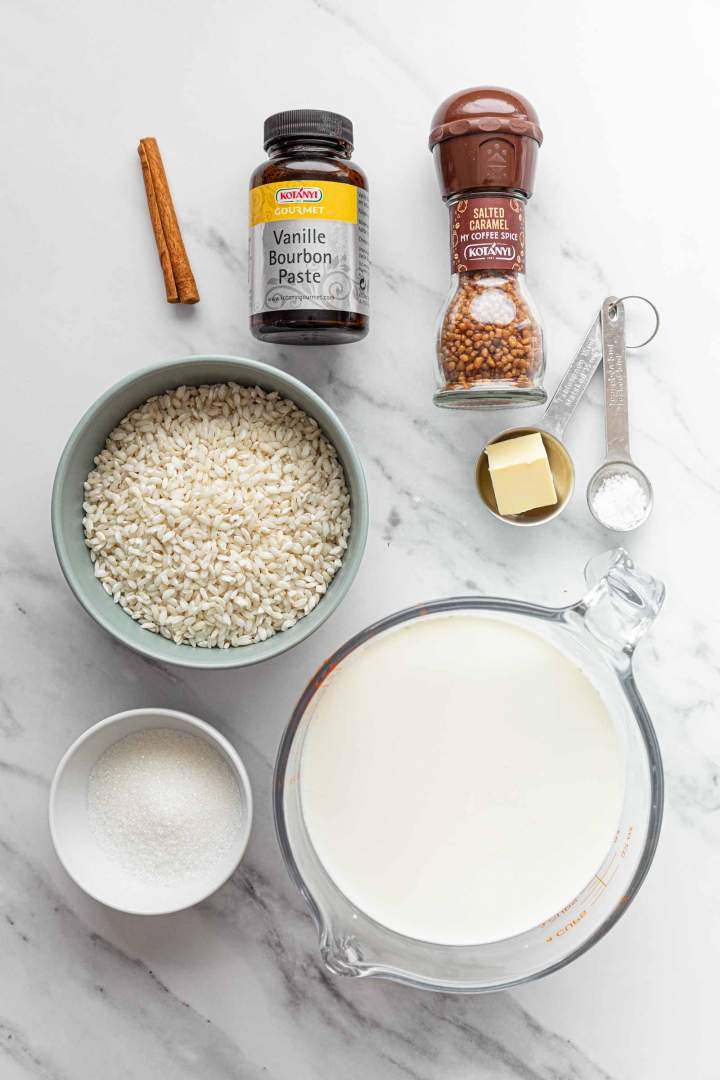 Ingredients for Old Fashioned Rice Pudding