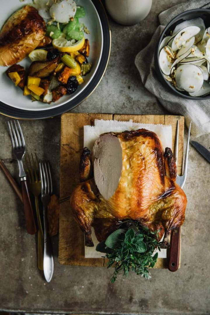 Roast Chicken with Sweet Potatoes and Pear