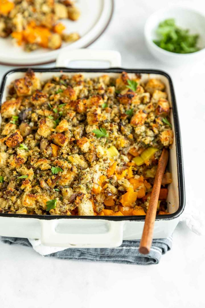 Roasted Butternut Squash with Pancetta and Chestnuts