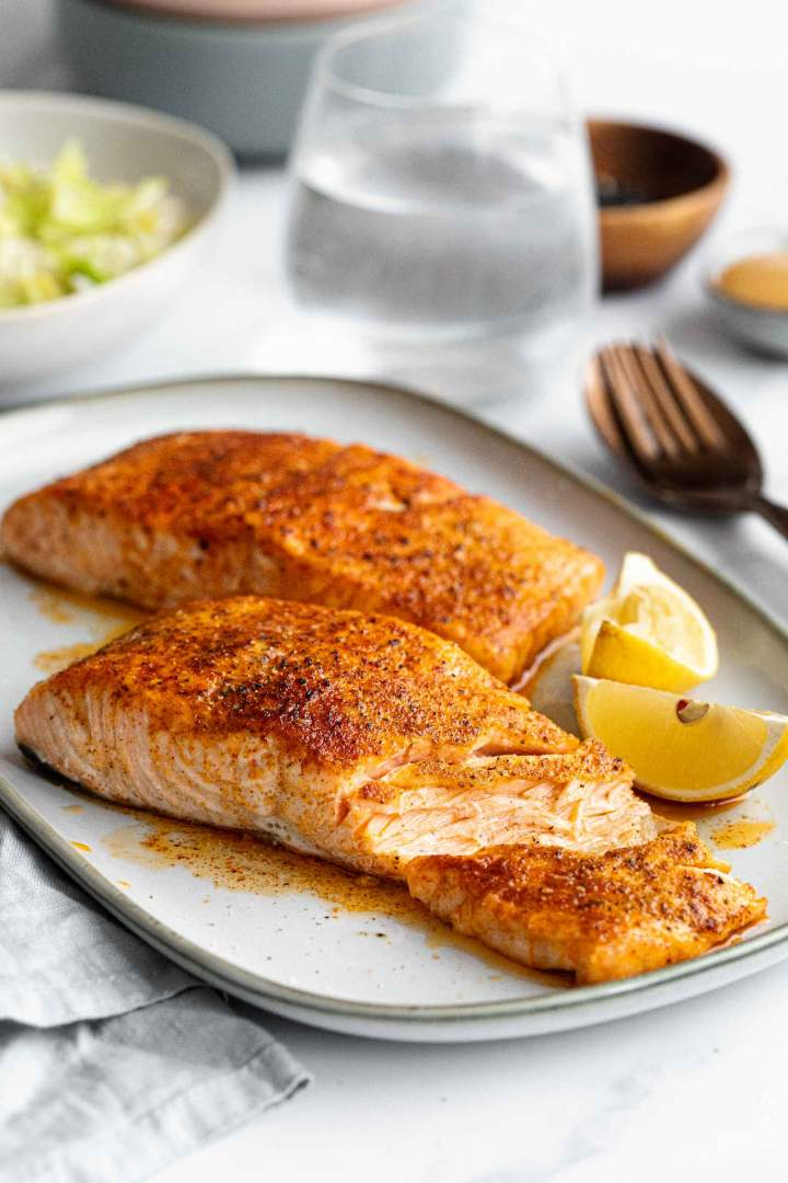 Oven Roasted Salmon with Rice and Savoy Cabbage