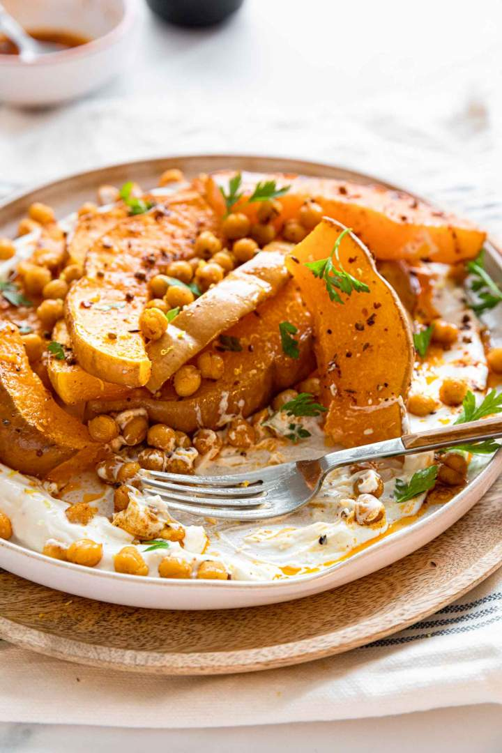 Oven Roasted Squash with Chickpeas and Yogurt  recipe