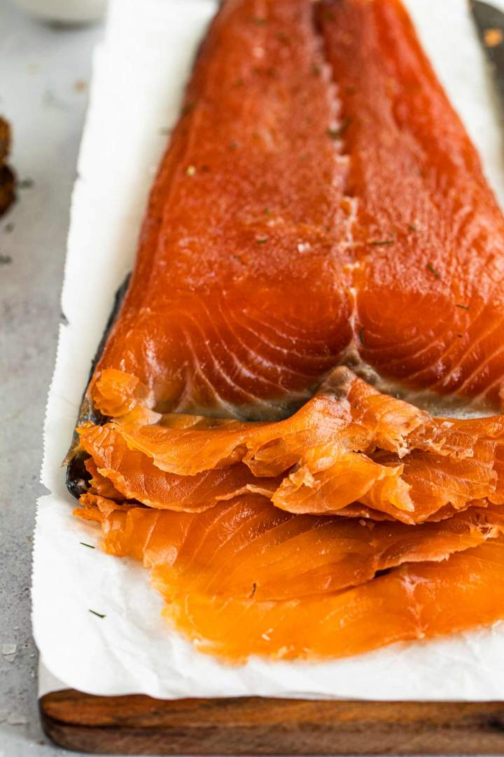 Thinly sliced Cured Salmon Gravlax