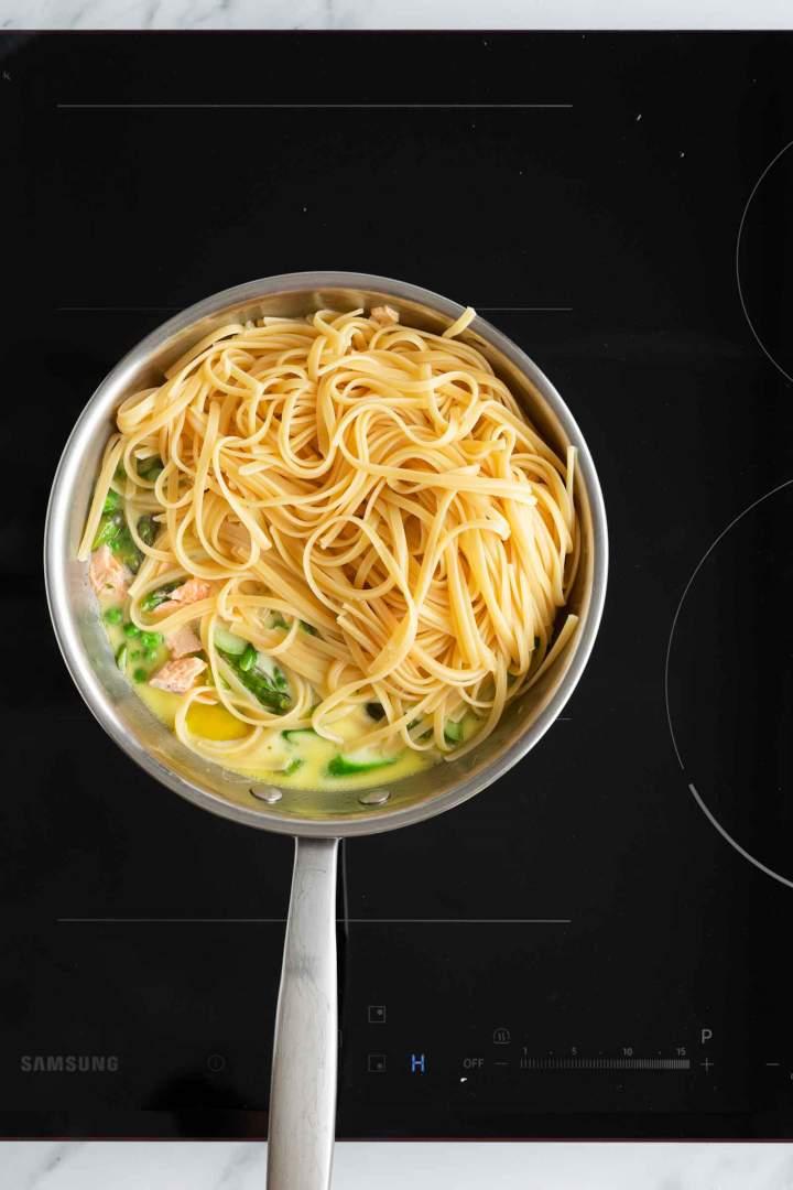 Testenine z lososom in šparglji - kuhanje